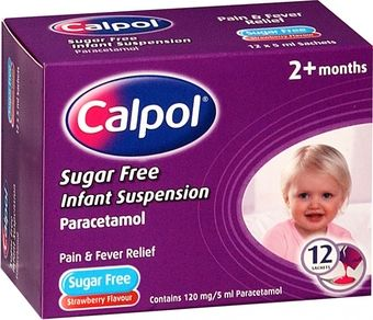 Calpol Sugar-Free Infant Suspension Sachets 5ml Pack of 12