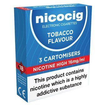 Nicocig Refills High Strength Tobacco Flavour Pack of 3 (Formerly Nicolites)