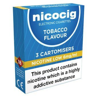 Nicocig Refills Low Strength Tobacco Flavour Pack of 3 (Formerly Nicolites)