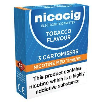 Nicocig Refills Medium Strength Tobacco Flavour Pack of 3 (Formerly Nicolites)